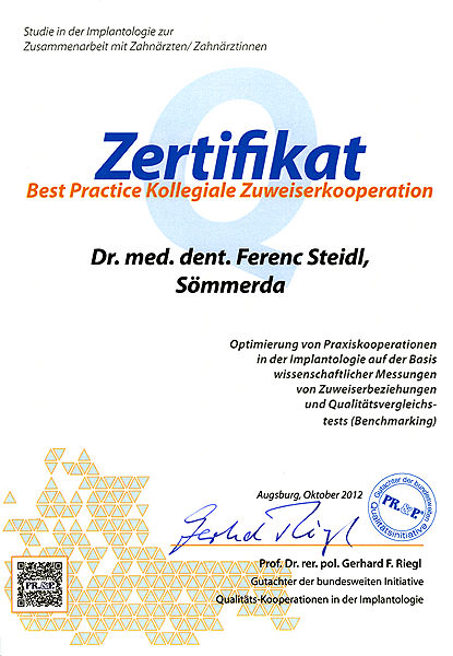 Zertifikat Best Practice Kollegiale Zuweiserkooperation