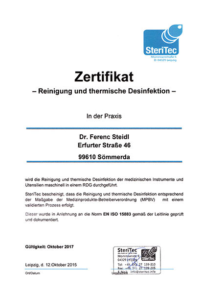 Zertifikat Desinfektion