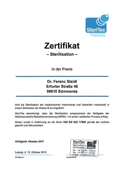 Zertifikat Sterilisation
