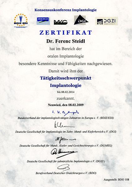 Zertifikat Zertifizierung Implantologie
