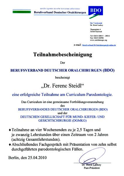 Zertifikat Zertifizierung Parodontologie DGMKG: BDO