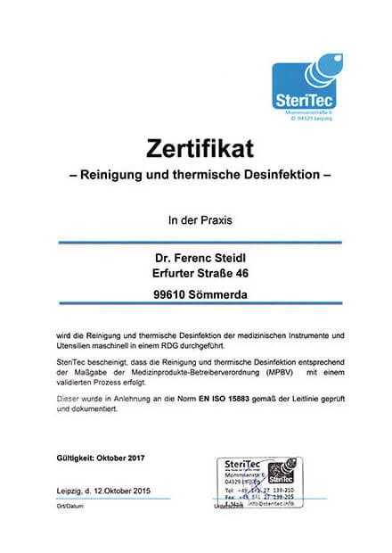 Zertifikat-Desinfektion