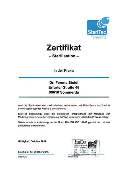 Zertifikat-Sterilisation