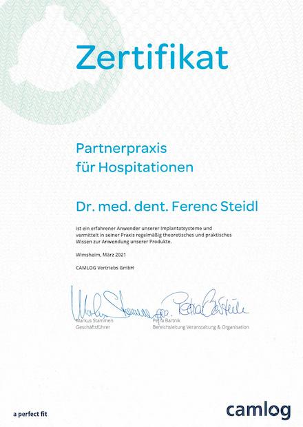 Zertifikat_Partnerpraxis für Hospitationen